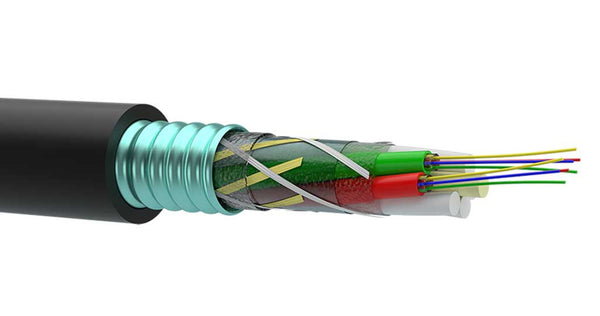 OKLBg armored fiber optic cable for burial, ducts, and pipes