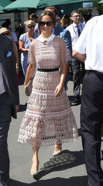 Pippa Middleton Wearing A Self Portrait Dress and Emmy London Shoes and Accessories
