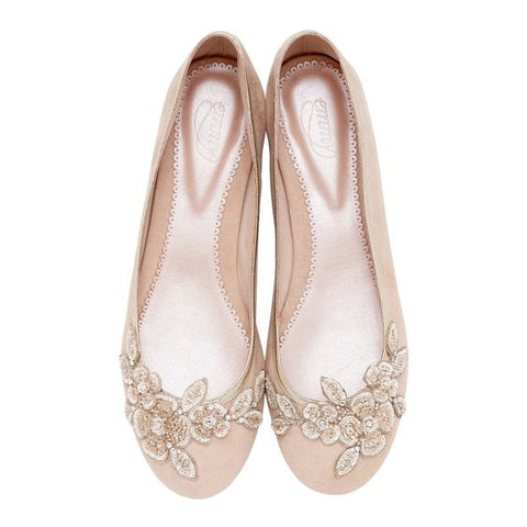 Carine Bridal Flat Shoes by Emmy London blush Suede shoes