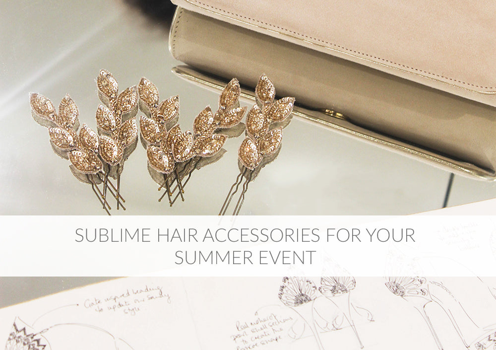 Sublime Hair Accessories for Your Summer Event, Gold Flora Pins, Natasha Blush Clutch