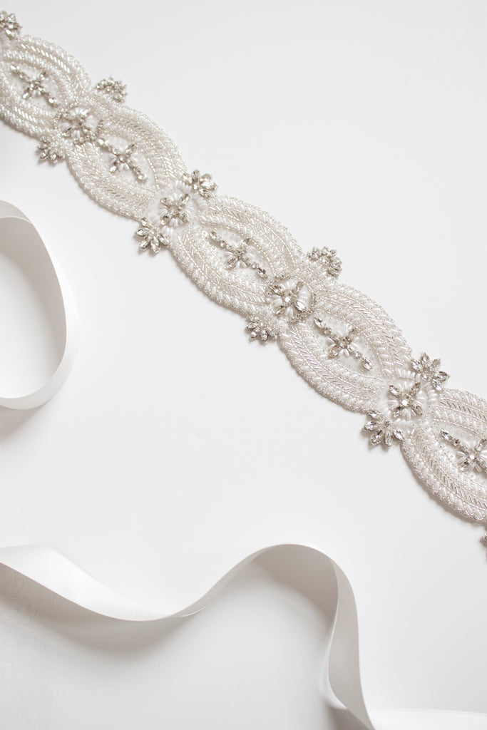 Emmy London Angelina Bridal Belt With Crystal and Pearl Embellishments