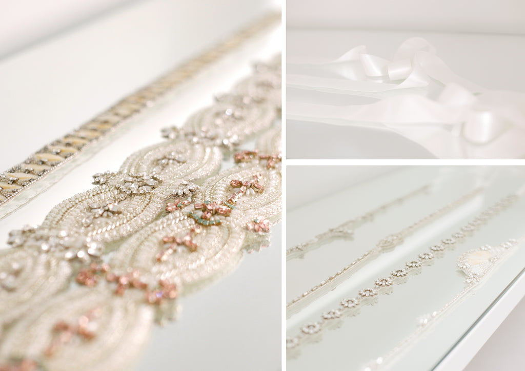 Emmy London Hand-Beaded Bridal Belts in the Emmy Chelsea Boutique