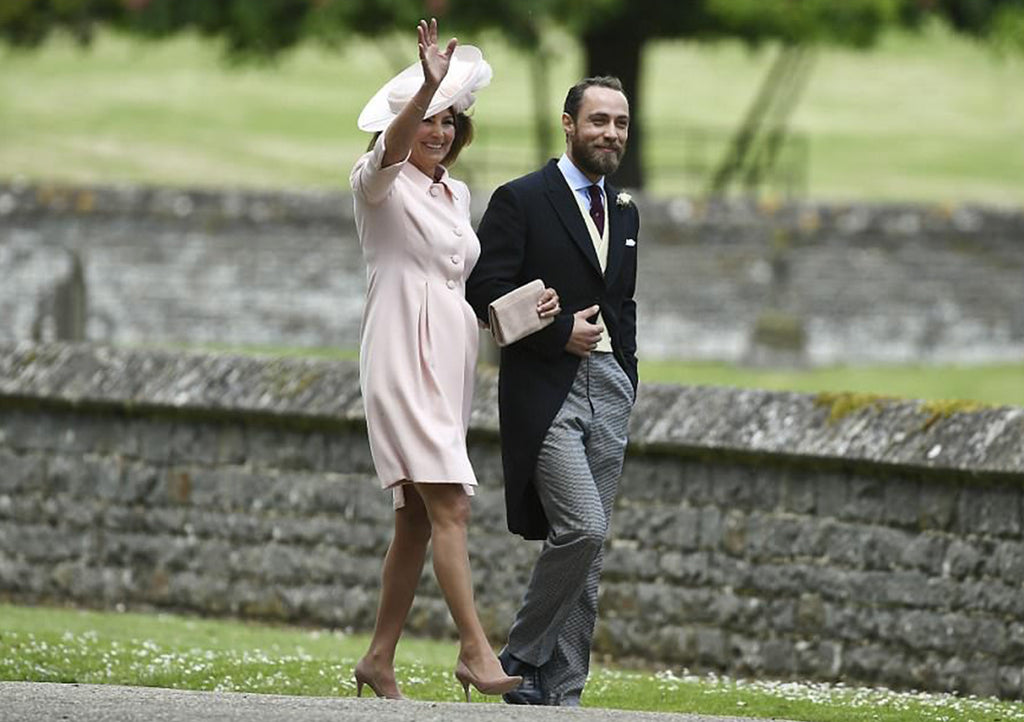 Carole Middleton in Emmy London Shoes and Clutch bag at Pippa Middleton Wedding