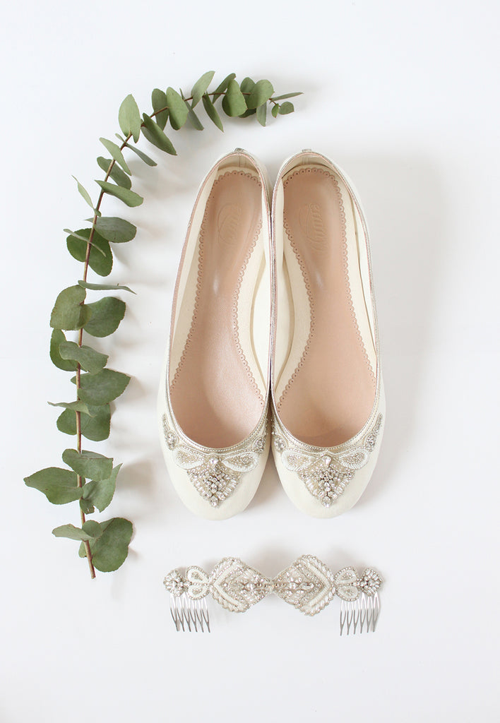 Emmy London Carrie Flat Bridal Shoes and Ophelia Wedding Hair Comb