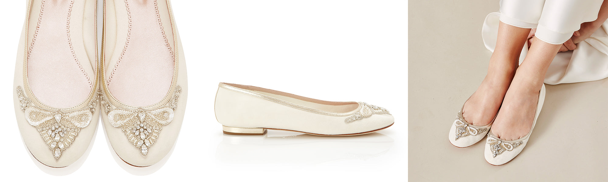 Carrie Flat Embellished Bridal Pumps for Your Wedding Day