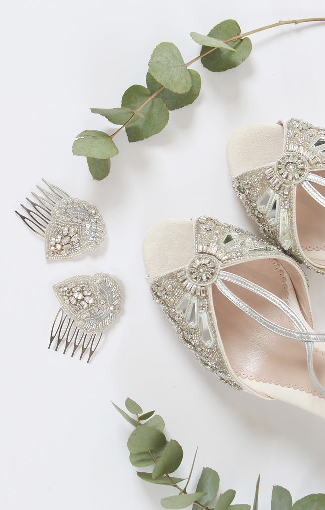 Emmy London Cinderella Shoes and Aurelia Leaves Bridal Hair Combs