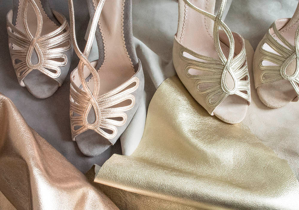 Emmy London Leila Shoes and Leather Swatches