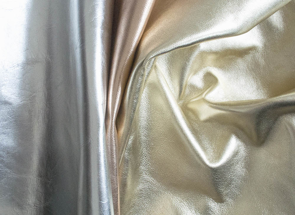 Metallic Leather Swatches used in the Emmy London Collection