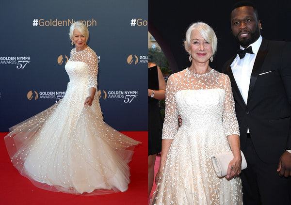 Dame Helen Mirren Carrying an Emmy London Clutch Bag wearing a Sassi Holford Gown