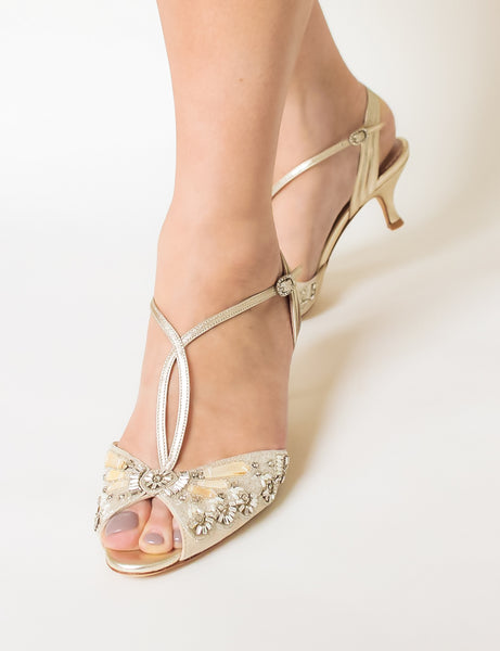 Ella Gold Bridal Shoes By Emmy London Kitten Heel Sandals