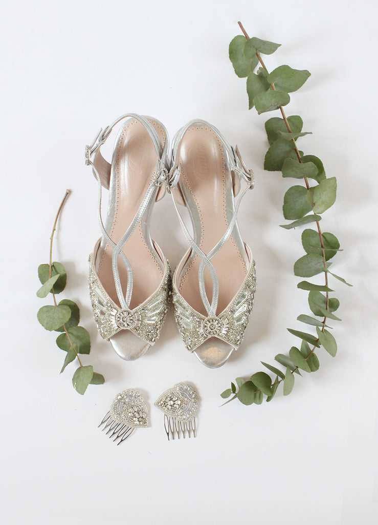 Emmy London Ella Silver Kitten Heel Sandal Shoes and Aurelia Leaves Hair Combs Perfect for Summer Brides