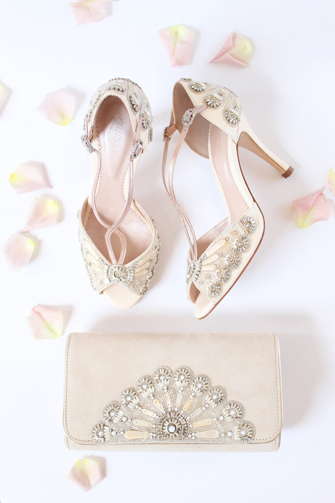 Emmy London Francesca Shoes and Blush Opera Clutch Bag Summer Wedding Styling