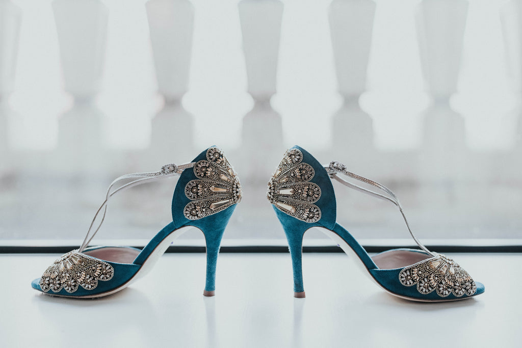 Blue and Gold Emmy London Bespoke Bridal Shoes Frida Kahlo Exhibition at the V and A