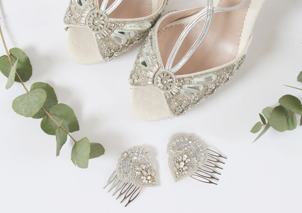 Cinderella Bridal Shoes and Aurelia Hair Combs by Emmy London