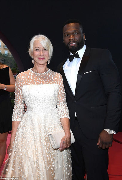 Dame Helen Mirren Wearing a Sassi Holford Gown and Carrying an Emmy London Clutch Bag