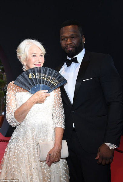 Dame Helen Mirren with 50 Cent at Monte Carlo TV Festival Closing Ceremony