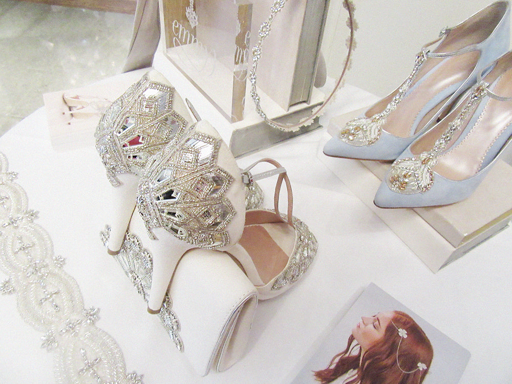Victoria Ivory Shoes Up Close On Display at Emmy London Corinthia Catwalk Bridal Showcase