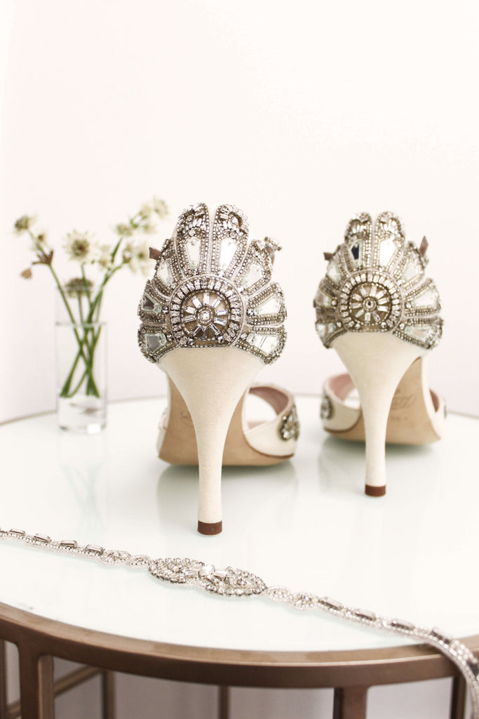 Cinderella Bridal Shoes by Emmy London With Crystals, Mirror Glass Beading