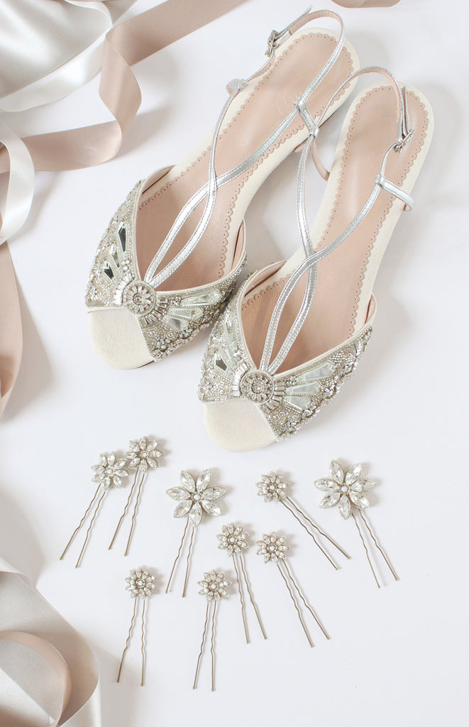 Jude Silver Flat Bridal Sandals and Crystal Daisy Pins Wedding Hair Accessories from Emmy London