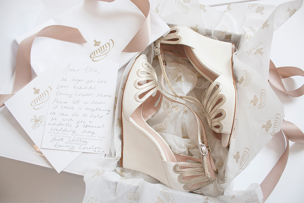 Emmy London Delivery Leila Wedge Bridal Shoes Shipping Info