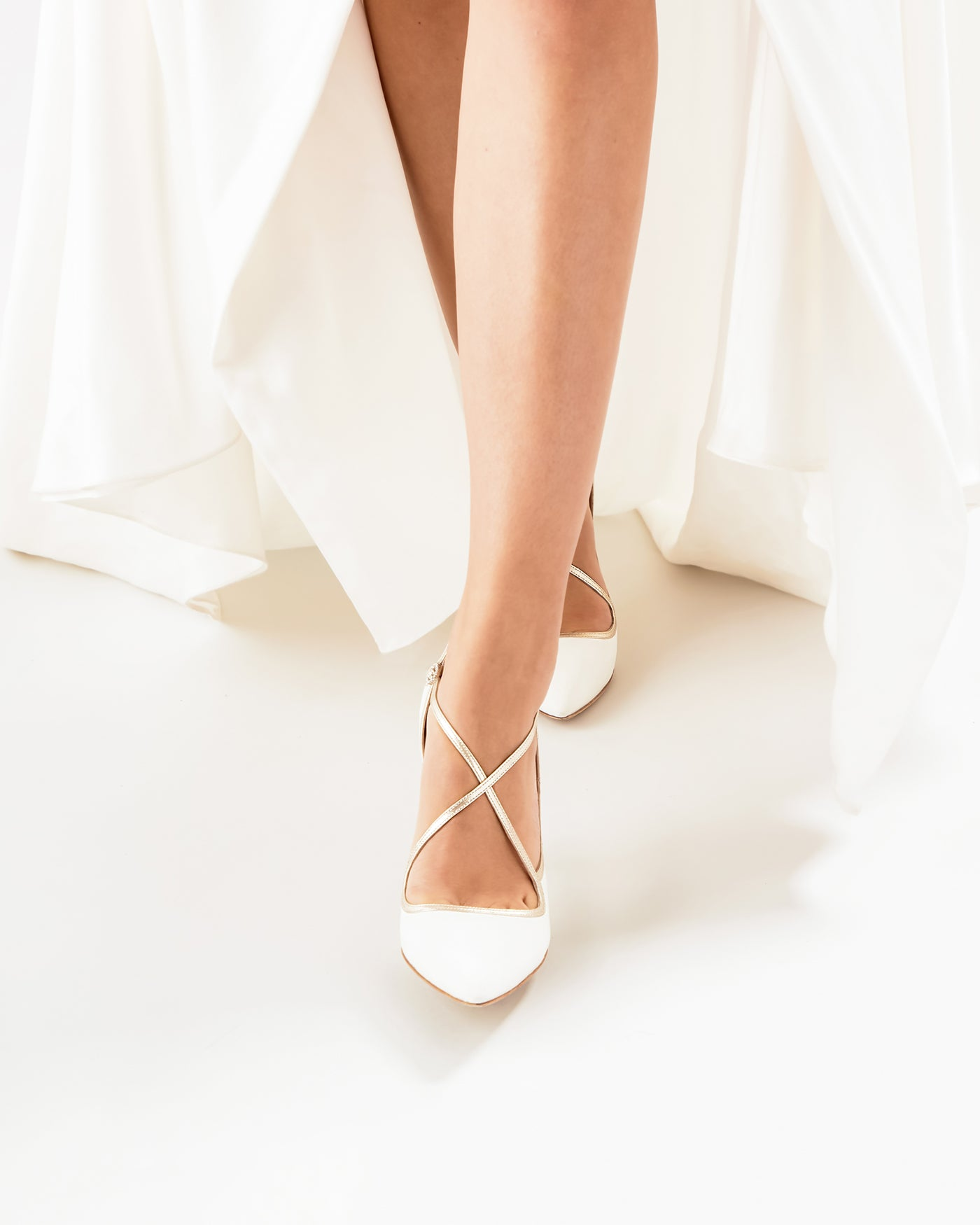 Charlotte Ivory and Gold Wedding Shoes For Dancing by Emmy London