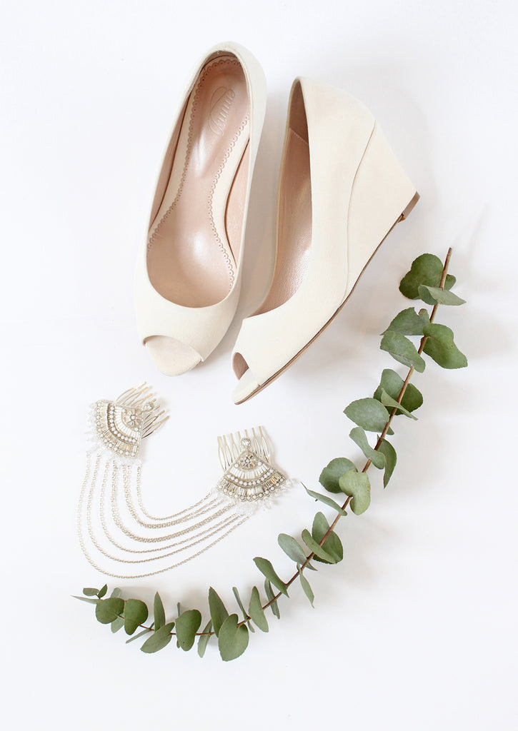 Lucy Wedge Bridal Shoes and Double Fan Drape Bridal Hair Accessory by Emmy London