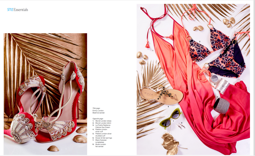 Beatrice Red Embellished Sandals in Nikki Beach Style Magazine