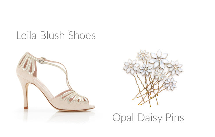 Leila Blush Shoes, Opal Crystal Daisy Hair Pins