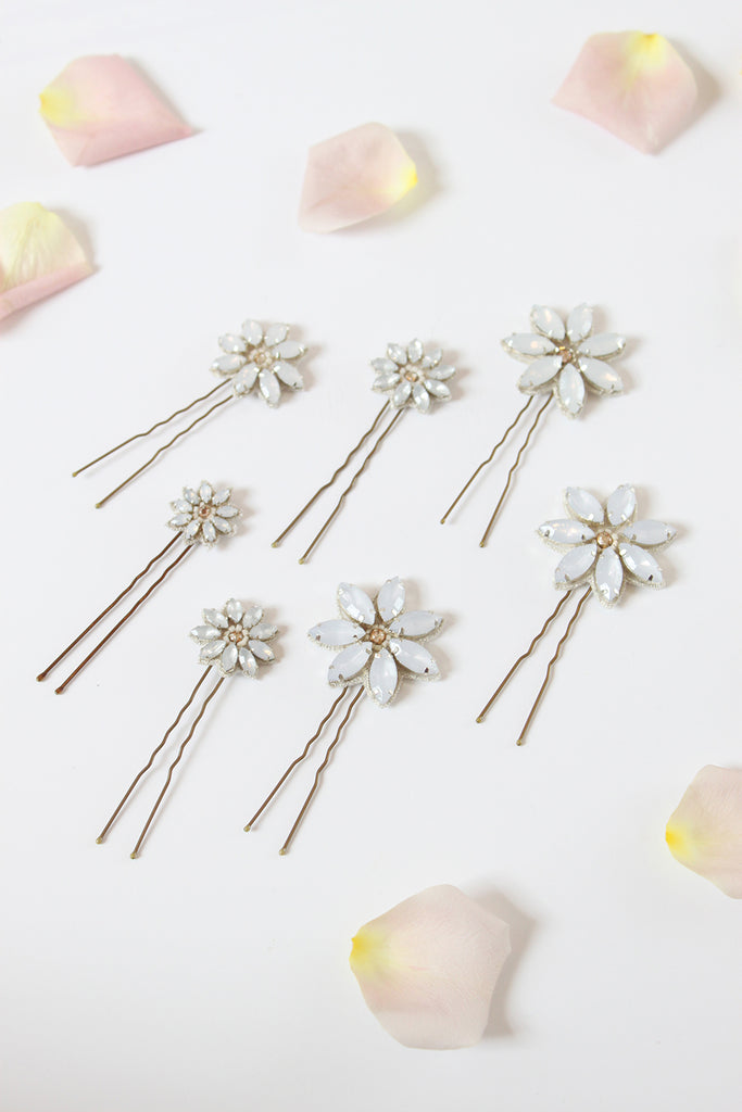Emmy London Opal Daisy Crystal Hair Pins Perfect for Summer Brides