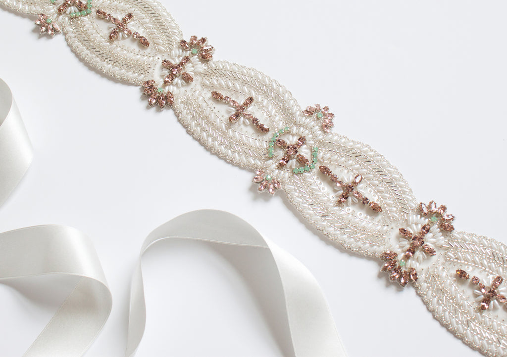Ophelia Blush and Mint Bridal Belt from the Emmy London Wedding Collection