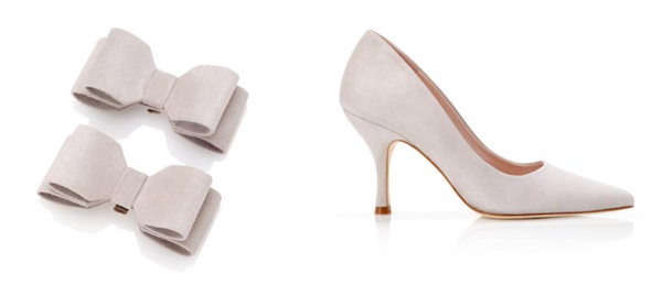 Emmy London Vapour Grey Shoe Clips and Pointed Court Shoes for Royal Ascot