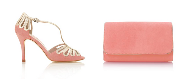 Coral Leila Shoes and Clutch Bag by Emmy London