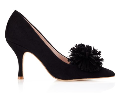 Pom Pom Shoe Clips in Black from the Emmy London Luxury Shoes and Accessory Collection