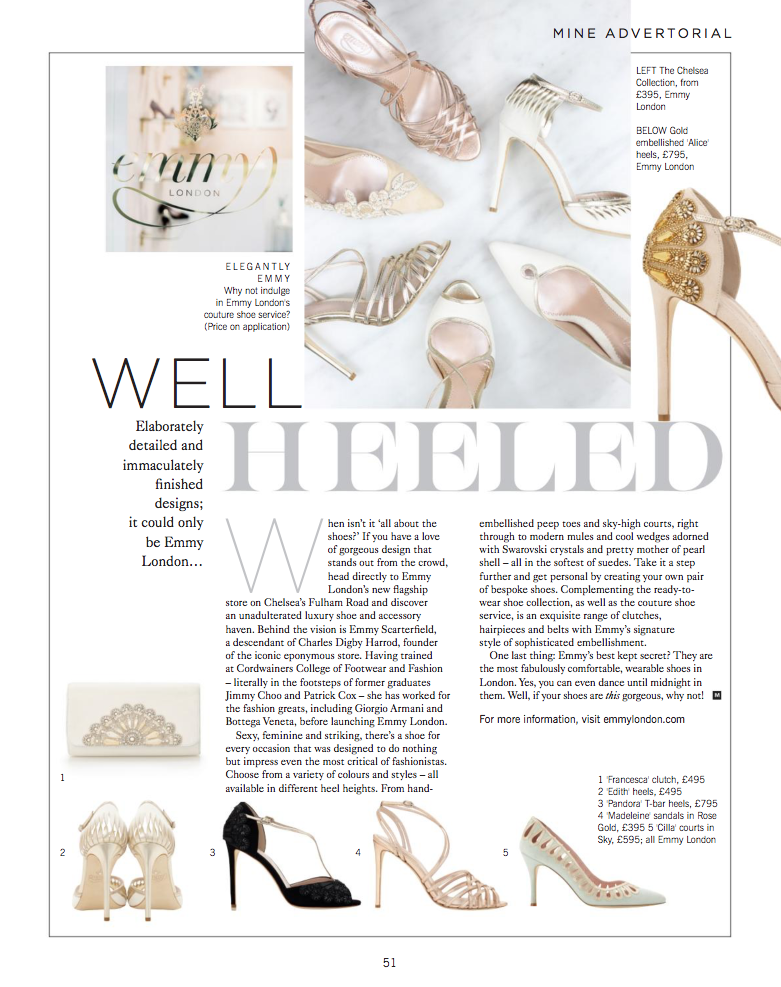 Mine Magazine Advertorial Well Heeled with Emmy London interview by Emmy Scarterfield