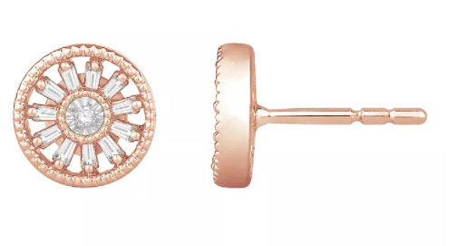 Emmy London 9ct Rose Gold & 0.15ct Diamond Round Earrings