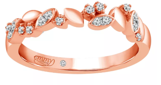 Emmy London 18 Carat Rose Gold 1/10 Carat Diamond Set Ring