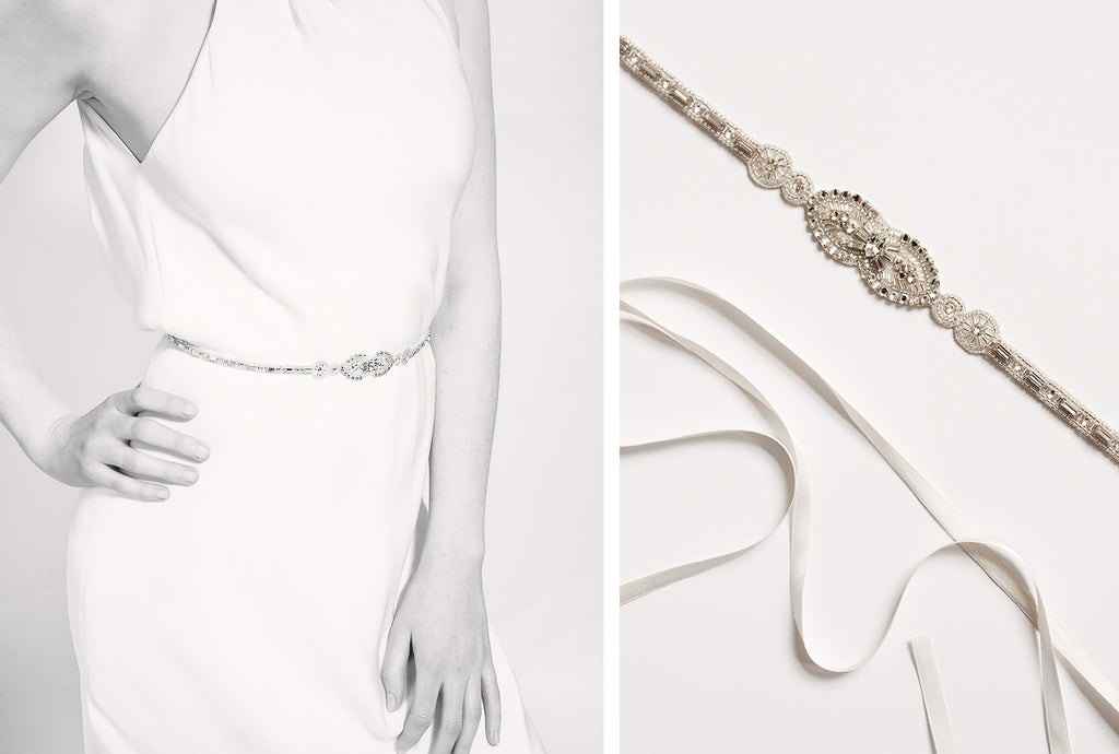 Emmy London Teardrop Bridal Belt Available online and in the Emmy London Chelsea Boutique