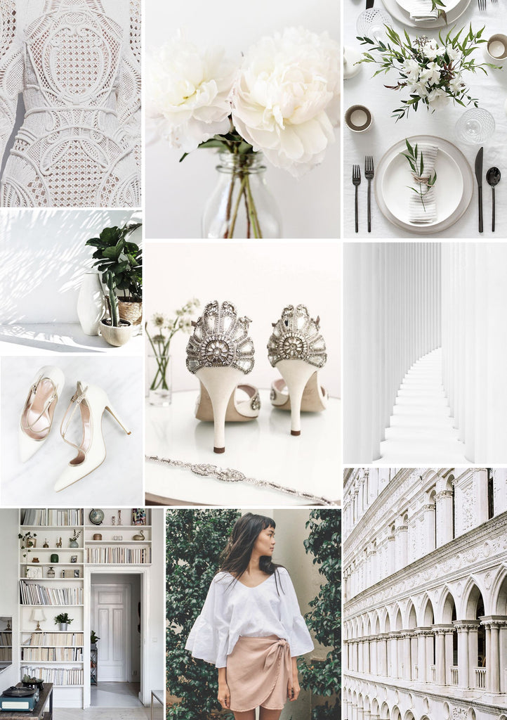 Wimbledon inspired Mood board with fresh white colours and cool style