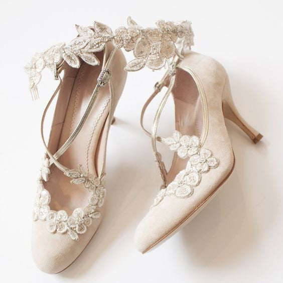 Emmy London Blossom Bridal Shoes and Demi Halo