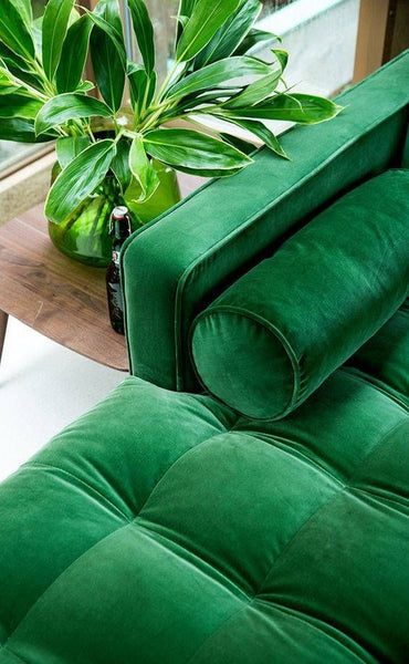 Green sofa and vase