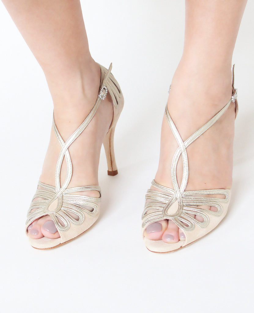 Leila Blush Suede Leather Event Sandals by Emmy London