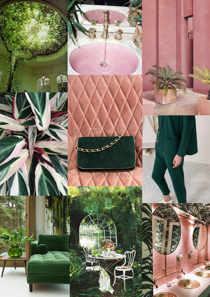Green and blush mood board, pinterest