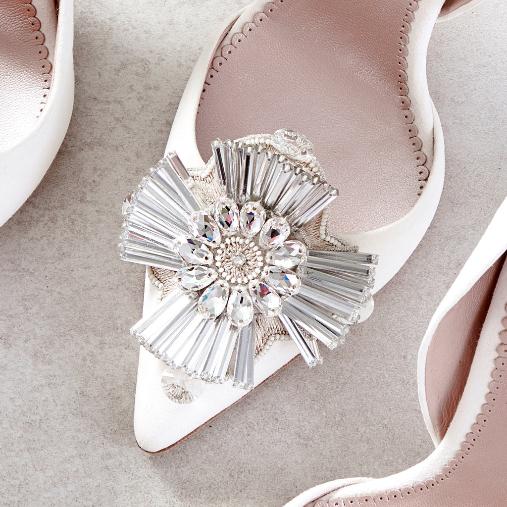 Porto Flower Shoe Clips Swarovski Crystals Designed In London by Emmy London