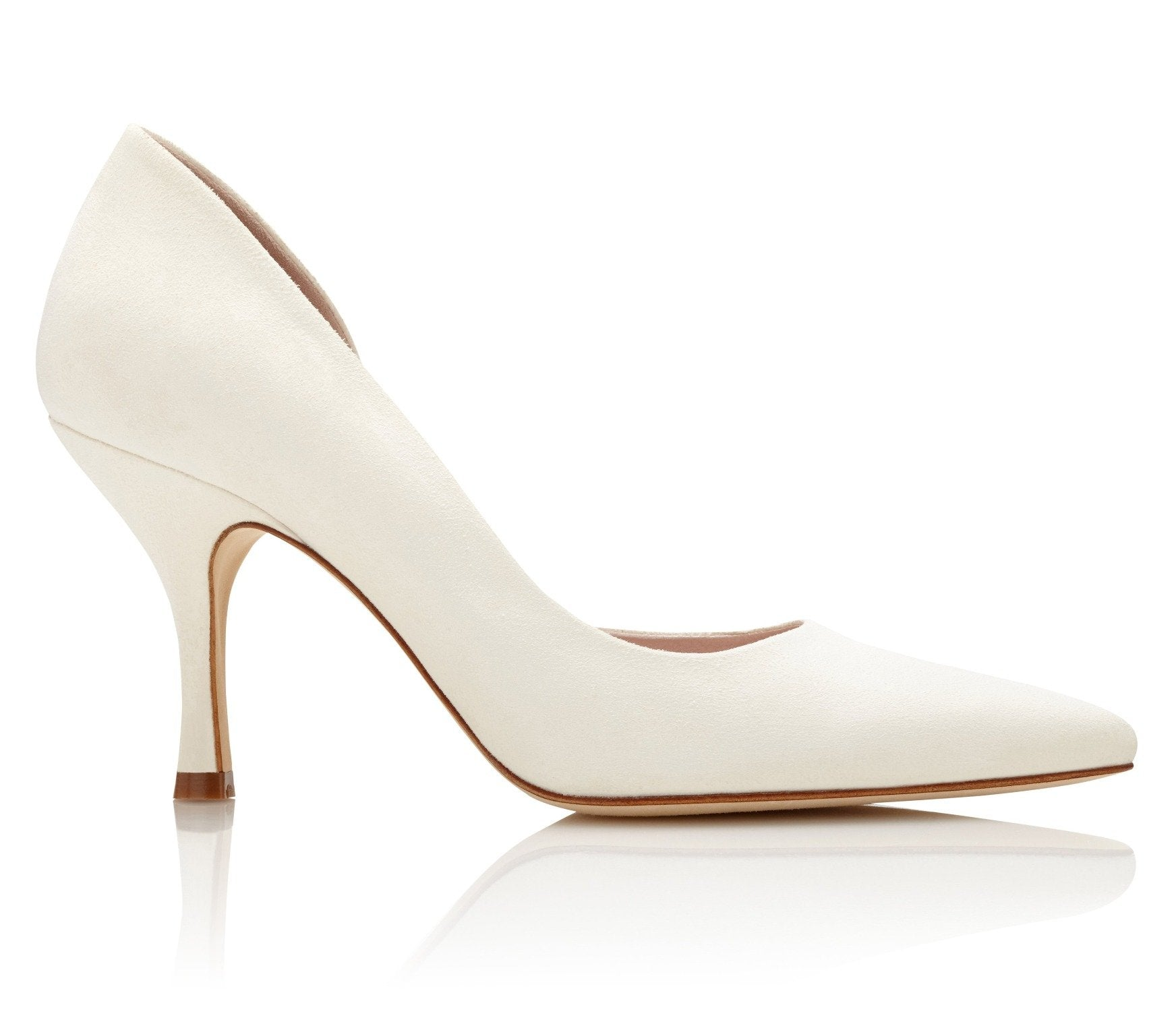 Amelia Ivory - Bridal Shoes - Suede Half D'Orsay Shape - Emmy London