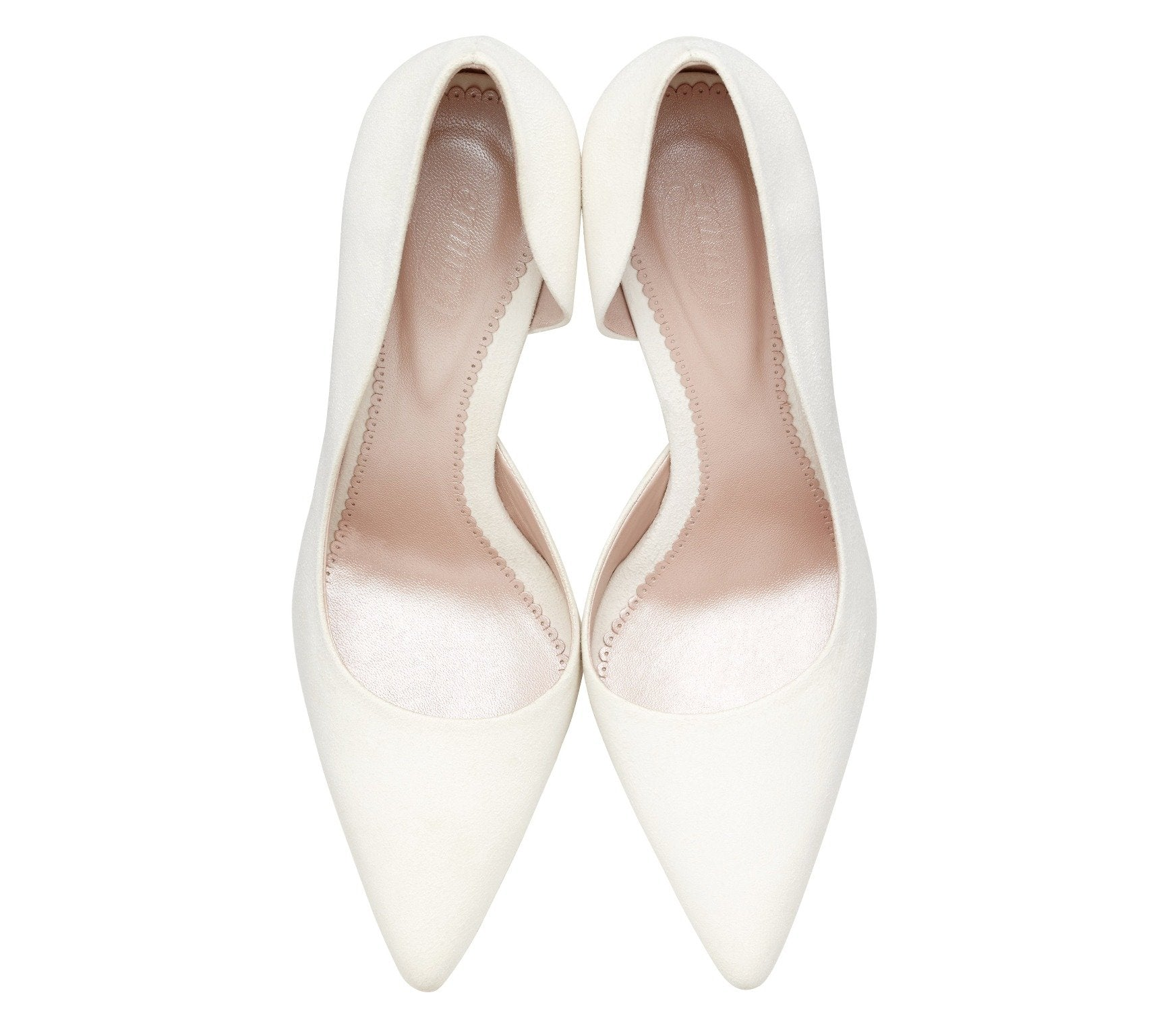Amelia Ivory - Wedding Shoes - Suede Half D'Orsay Shape - Emmy London - Above View