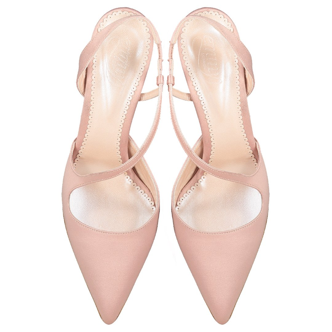 Anna Blush Pink Satin Occasion Shoes By Emmy London