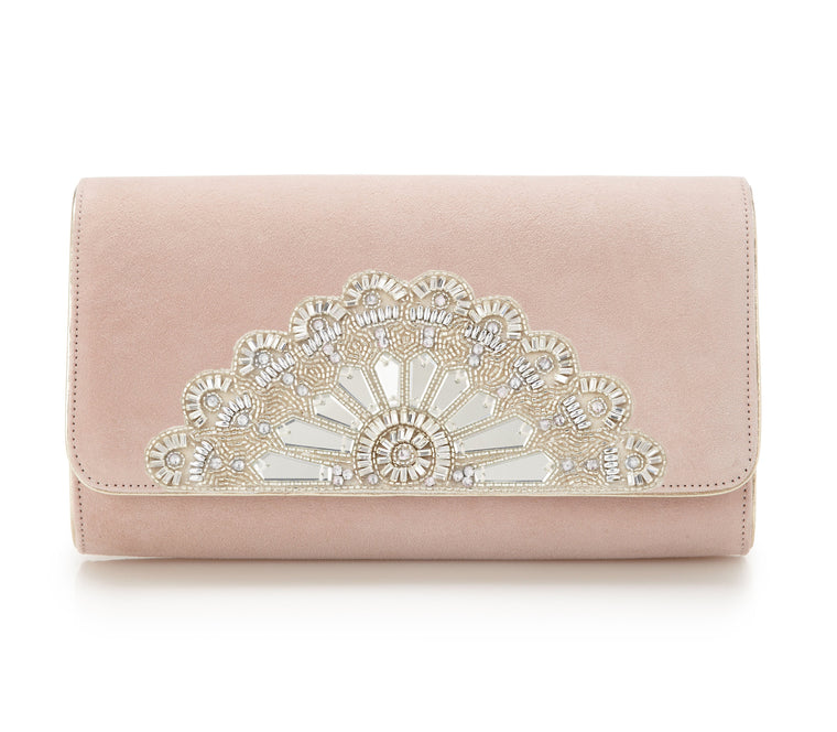 Rose Pink Embellished Art Deco Bridal Clutch Bag Hand Made Using Swarovski Crystals