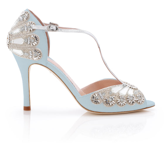 Emmy London Blue Wedding Shoe Hand made in London