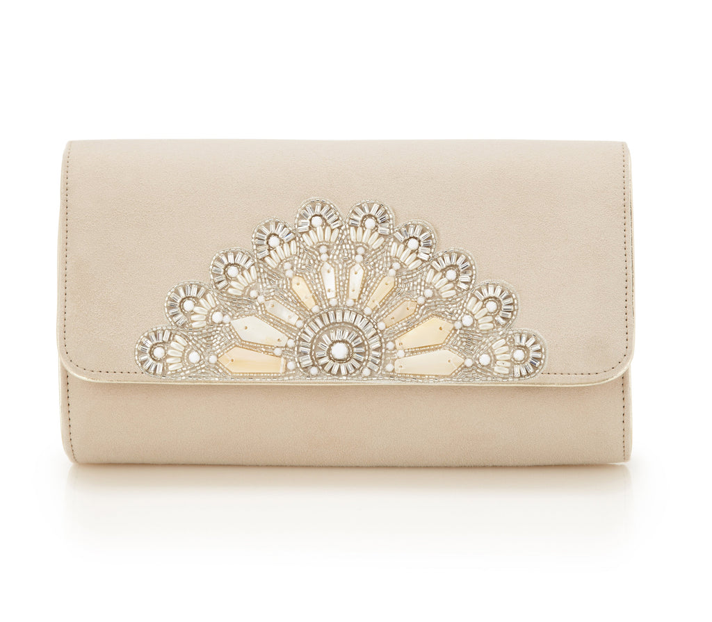 Blush Opera Clutch - Bridal Accessories - Blush Kid Suede - Clutch - Bag - Mother of Pearl Beading and Swarovski Crystals