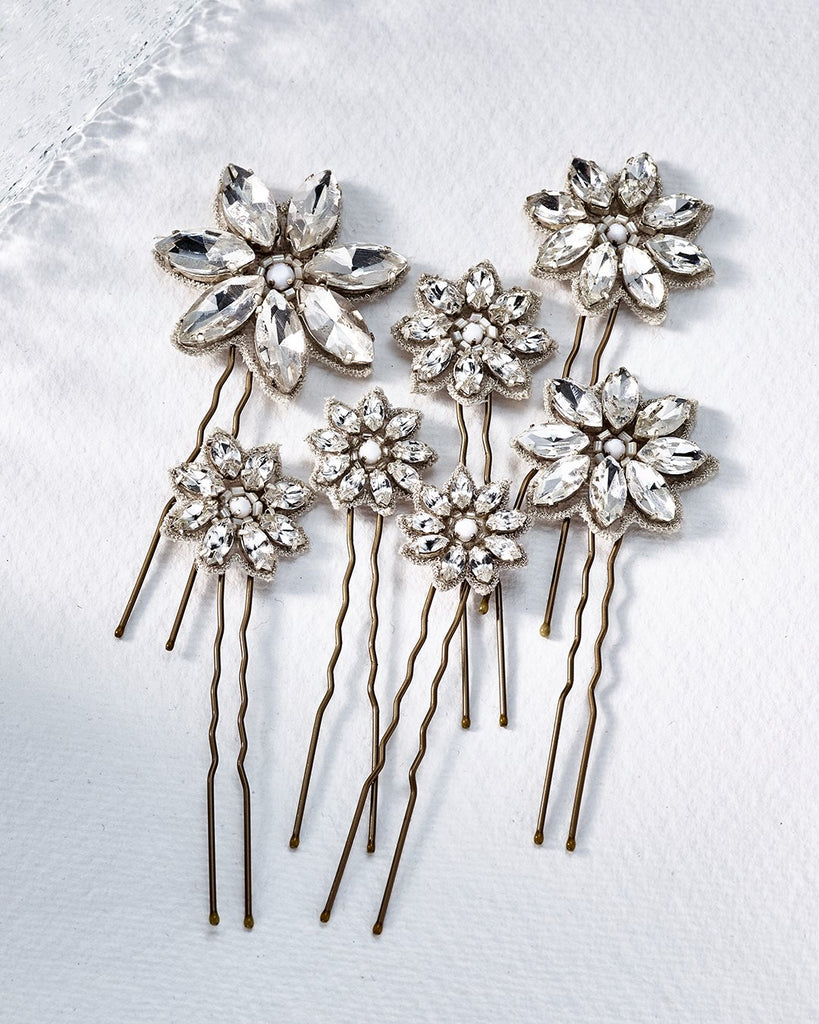 Crystal flower hair pins designed by Emmy London